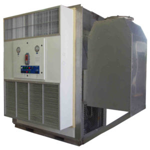 Large capacity, single package, wall mounted, combination AC and Pressurization systems
